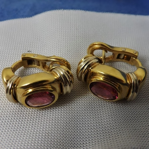 Estate! Heavy 18 Karat Gold - Pink Tourmaline Earrings GLI Litnon.com