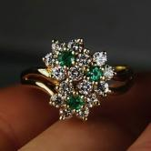 Special Price! High Quality! 14 kt Emerald and Diamond Ring GLI