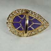 Estate Lavender Purple Jadeite 14 karat Gold Ring GLI