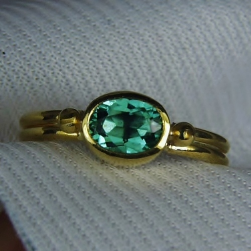 22 Karat Gold! Bright Blue Green Tourmaline Ring GLI Litnon.com