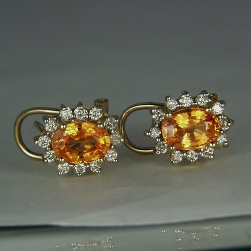 Mandarin Spessartite Garnet & Diamond 14 kt Earrings GLI Litnon.com
