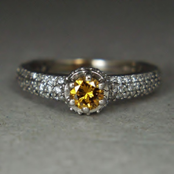Quality! Natural Fancy Color Diamond 14 kt White Gold Ring GLI Litnon.com