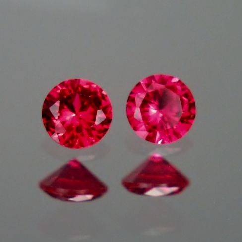 3 mm Matched Pair Lab Grown Ruby Corrundum  GLI Litnon.com