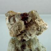 Spessartite Garnet & Quartz On Microcline Feldspar Specimen GLI