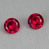 4 mm Matched Pair Lab Grown Ruby Corrundum  GLI
