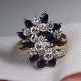 Quality! Ladies 14 kt Sapphire and Diamond Waterfall Ring GLI