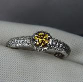 Quality! Natural Fancy Color Diamond 14 kt White Gold Ring GLI