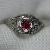 Antique! 18kt Filigree White Gold South East Asia Ruby Ring GLI