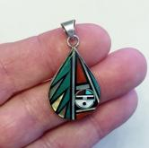 Vintage Signed Zuni Native American Sterling Pendant & Earrings GLI