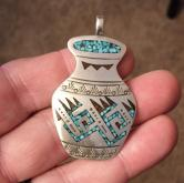 Vintage Navaho Native American Sterling Silver Inlay Pendant  GLI